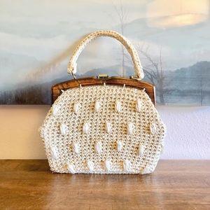 Vintage La Fleur raffia and wood handbag